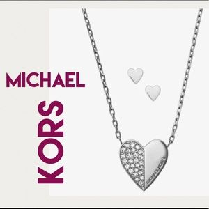 MICHAEL KORS Pave Silver Heart Necklace Earrings